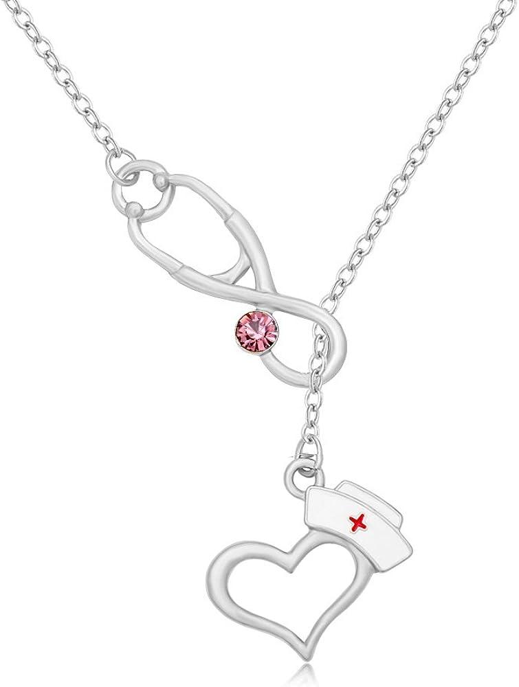 MANZHEN Medical Stethoscope Heart RN Graduation Gift Doctor Nurse Student Lariat Necklace
