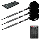 PEGASUS SOFT TIP DARTS SET - 20 Gram - Black Winmau flights, Black Shafts, Wallet & Red Dragon Checkout Card