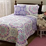 Purple and Teal Twin Bedding 3 Piece Girls Medallion Quilt Twin Set, Cute All Over Flowers Mandala Motif Bedding, Multi Floral Heart Swirls Pattern, Bohemian Boho Chic Flower Themed, White Teal Blue Lavender Plum Violet Pink