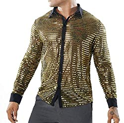 Men's Sequin Slim Fit Long Sleeve Shirt