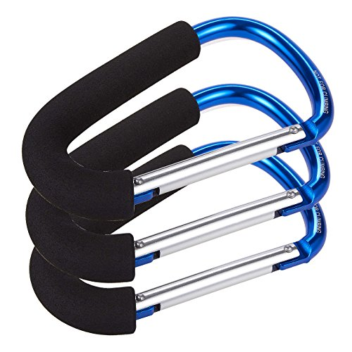 Set of 3 Stroller Hooks - Aluminum Carabiner Stroller Clips for Baby Strollers, Blue - 6.2 x 3.8 x 0.4 Inches