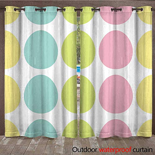 (RenteriaDecor Outdoor Balcony Privacy Curtain Happy Easter Painting Egg Painted Shell Set Light Color Seamless Line Pattern Wrapping Paper Textile Template White Back W72 x L84)