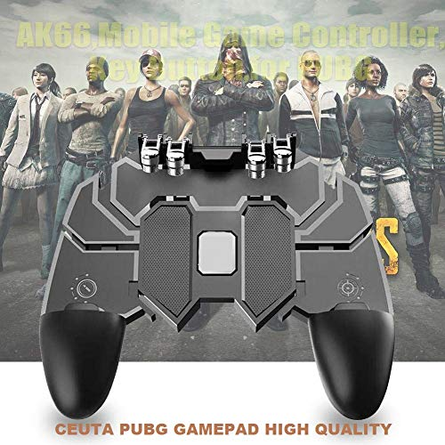 Mobile Game Controller [Six-Finger] – Game Controller with Gaming Trigger, Shoot Sensitive Controller Aim & Fire Trigger Compatible with iPhone/Android (Black)