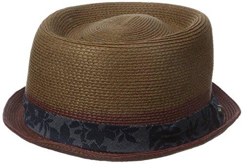 Ted Baker Men's Straw Pork Pie Hat With Band, Dark Red, Medium-Large