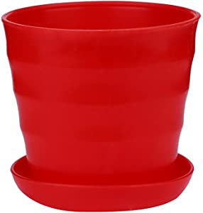 Adeliber Colourful Mini Plastic Flower Pot Succulent Plant Flowerpot Home Office Decor(red)