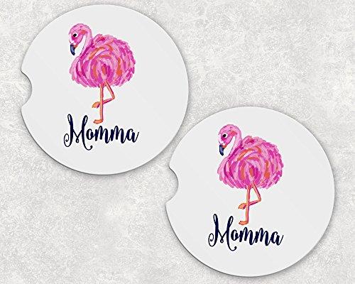 (Monogrammed Car Coasters - Absorbent Sandstone - Flamingo (SET of)