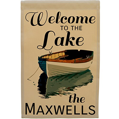Happy Camper World Welcome to The Lake Personalized Cabin or Lake House Garden Flag, Stand Not Inlcuded