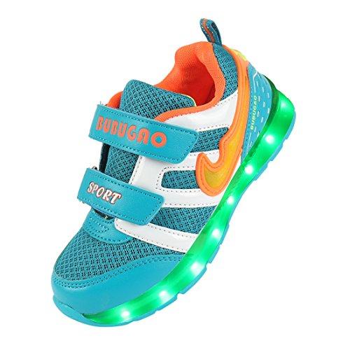 Angin-tech 7-Light Kinder LED Sneaker Sportschuhe Blink Boots Birthday Gift Camping Wandern Trekking-Schuhe mit CE-Zertifikat Light Blue