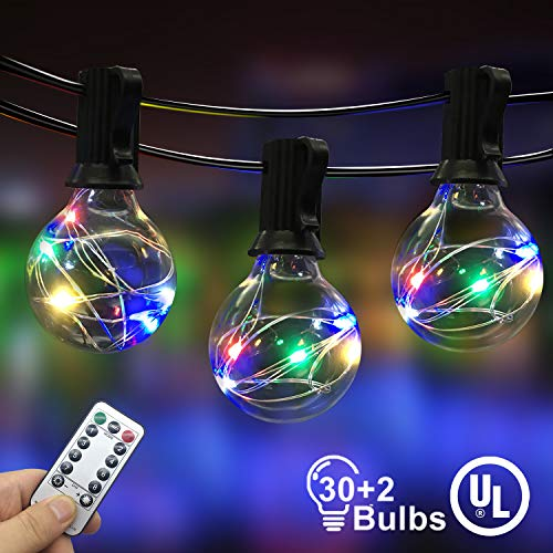 IELECMG Outdoor String Light - 32.8FT 30Pcs Linkable Patio Lights Dimmable G40 Globe Led String Lights with Remote Control UL Waterproof Backyard Lights for Bistro Garden Wedding Patio Decoration