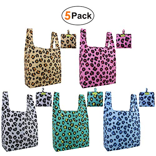 Reusable-Groceries-Bags-Reusable-Shoppin-Bags with Pouch 5 Pack Tote Bag Cute Foldable Bags in Bulk Washable Eco Friendly Folding Bags for Women Girls Sturdy Xlarge Recycled