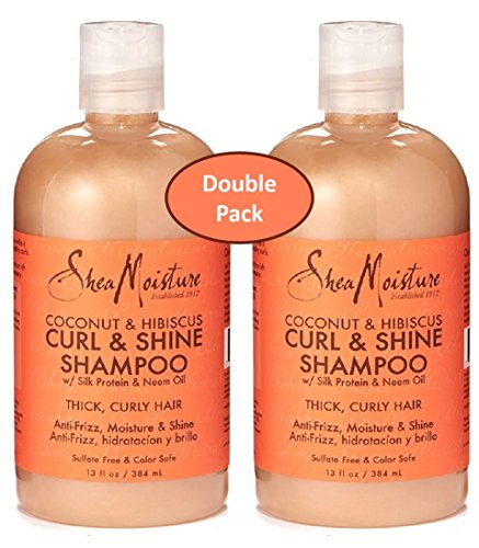 Shea Moisture Coconut and Hibiscus Curl and Shine Shampoo with Silk Protein and Neem Oil 13 Ounce, for Thick Curly Hair, Value Double Pack of 2 (Shine Coconut)