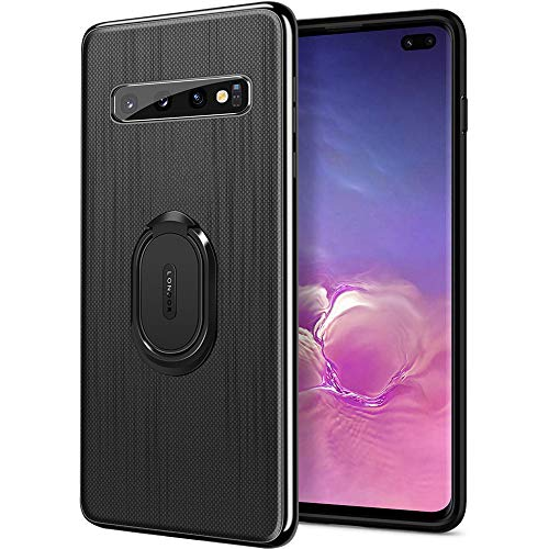 Galaxy S10 Case,WATACHE Ultra-Slim Premium PU Leather Shock-Absorbing TPU Frame Case with Finger Ring Grip Holder Stand [Work with Magnetic Car Mount] for Galaxy S10 6.1