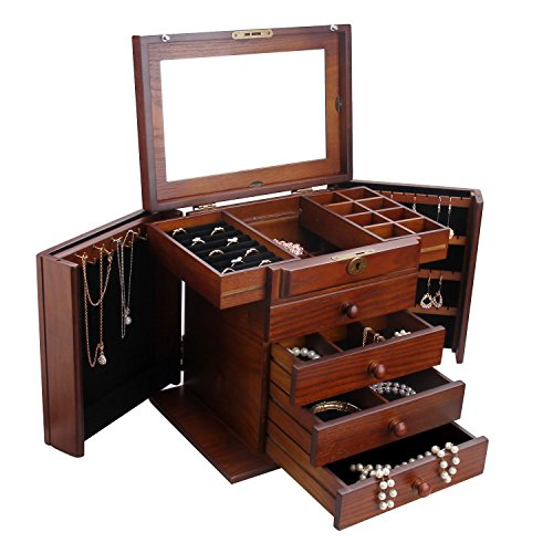 BELLAMORE GIFT Large Wooden Jewelry Box Armoire Watch Storage Case Organizer for Girls (Brown) 11.8 8.1 10.8 inch -