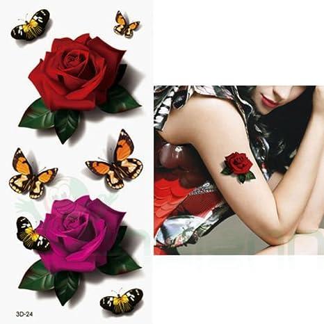 Tatuaje Tattoo temporalmente lavable rosas mariposas Body Art ...