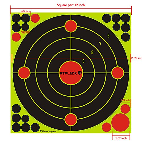 Atflbox Shooting Target 12Inch Bulleye Super Splatter and Adhesive Target.Shooting outdoor and indoor ranges.Rective shooting targets for Gun - Rifle - Pistol - AirSoft - Air Rifle for 25Pack by Atflbox (Image #3)