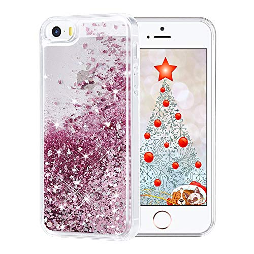Maxdara Case for iPhone SE 5S 5 Case Glitter Girls Liquid Bling Sparkle Luxury Gifts Pretty Fashion Phone Case for iPhone 5 5S SE (Rosegold) (5 Cases Iphone Pretty)