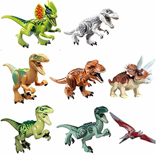 8 Pieces Dinosaur Action Figure Toy Set - Excellent Gifts For Children - Velociraptor Raptor Tyrannosaurus Rex T-Rex Triceratops