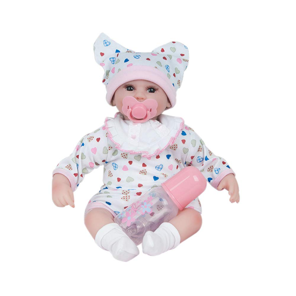 Baby Doll,Reborn Dolls Lifelike Newborn Realistic Doll with Pacifier Silicone Vinyl Full Body, Waterproof, 18inch Weighted Baby Doll (Pink) by Lucoo Baby
