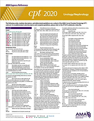 Cpt Modifiers List 2020.Urology Nephrology Cpt 2020 Express Reference Coding Card