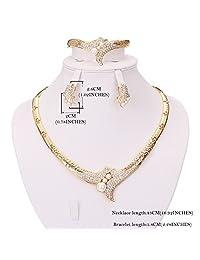 Moochi 18K Gold Plated White Pearls Necklace Earrings Bracelet Jewelry Set