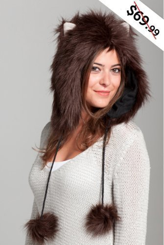 [Faux FUR Animal Hats Hoods Brown Kitty Cat Ski Ears with Poms] (Brown Cat Ears)