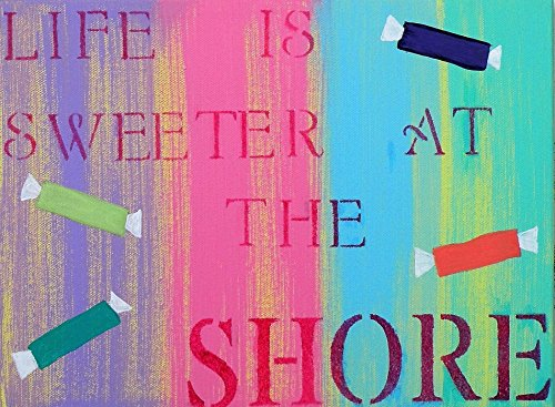Life is Sweeter at the Shore Canvas Quote Handmade Painting