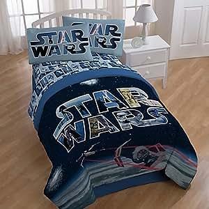 star wars space battle comforter and sheets 5pc bedding set full size home kitchen. Black Bedroom Furniture Sets. Home Design Ideas