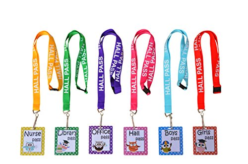 Owl Hall Pass Lanyards and School Passes Set of 6 (Pass Set)