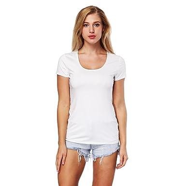 5d0e3efa1c7e ZKOOO Femme T-Shirt Basique Slim Fit Col Rond Manches Courtes Arrière Creux  Tee Shirt