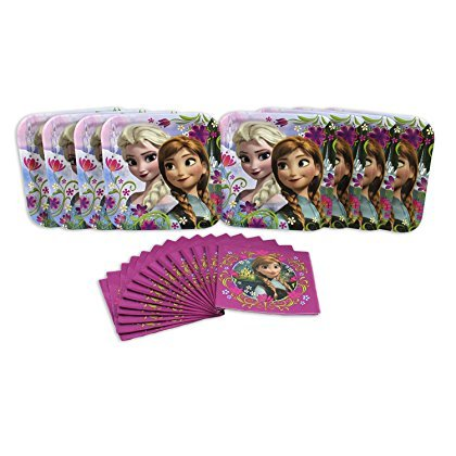 [Frozen Disney Elsa and Anna Birthday Party Set for 8 Dessert Plates and Napkins] (Disney Frozen Party Square Dessert Plates)