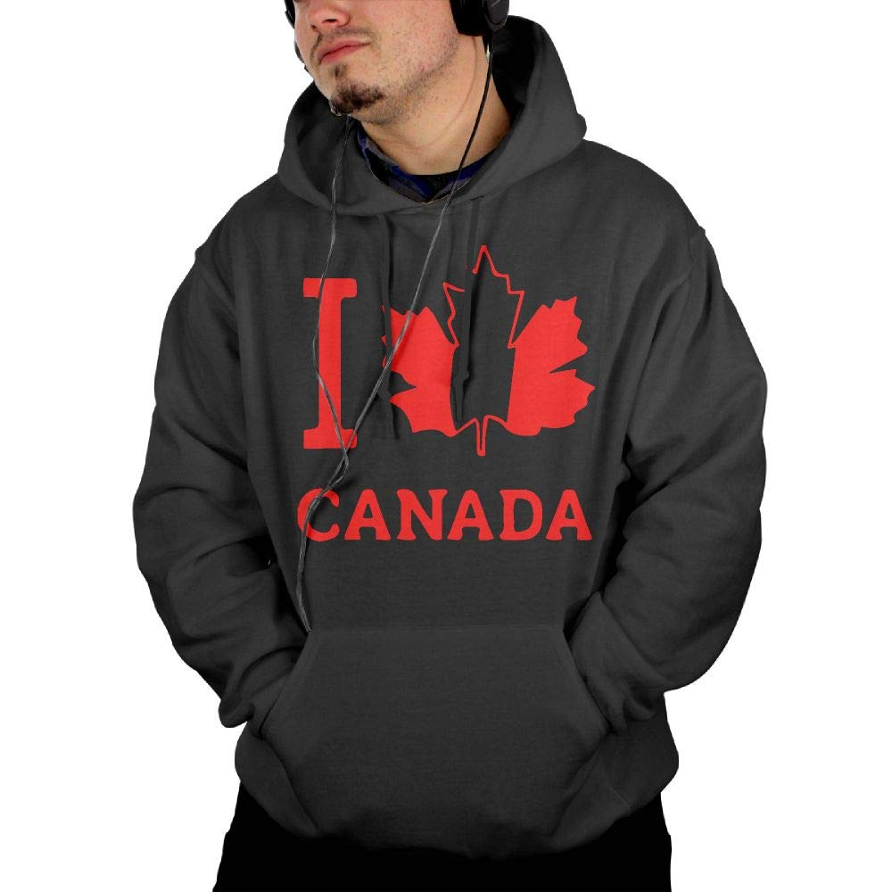 Mens I Love Canada Pullover Hoodie Athletic 100/% Cotton Sports Pullover with Pocket for Men