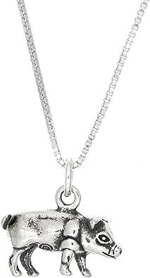 925 Sterling Silver Oxidized Pug Charm