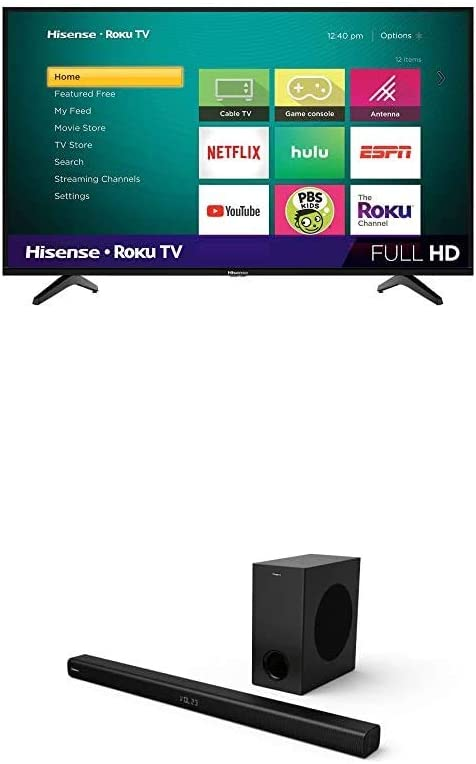 Hisense 43-Inch Class H4 Series LED Roku Smart TV with Alexa Compatibility & 2.1 Channel Sound Bar Home Theater System with Wireless Subwoofer with Bluetooth
