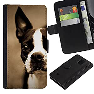 All Phone Most Case / Oferta Especial Cáscara Funda de cuero Monedero Cubierta de proteccion Caso / Wallet Case for Samsung Galaxy S5 Mini, SM-G800 // Boston Bull Terrier Bulldog French Puppy