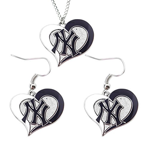 New York Yankees Necklace (MLB New York Yankees Swirl Heart Necklace and Dangle Earring Set Charm Gift)