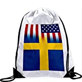 Large Drawstring Bag with Flag of Sweden - Many Designs - Long lasting vibrant image
