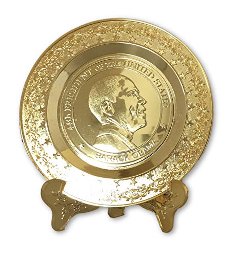 Commemorative Gold Plate of President Obama 44th President of The United States of America POTUS Souvenir and Collectors Item Must Have for Christmas and Kwanzaa Gift While Supply Lasts 4.5 inches