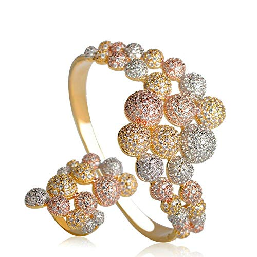 (Exquisite Jewelry Sets for Women | Big Bangle | Ring | Brass | 3 Tones | Accessories )