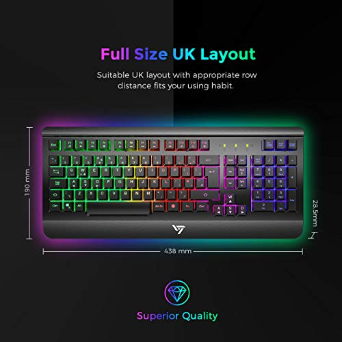 Gaming Keyboard UK, VicTsing Ultra-Slim All-Metal Frame USB Wired Keyboard  with Comfortable Wrist Rest, Rainbow LED, 12 Multimedia Shortcut Keys,