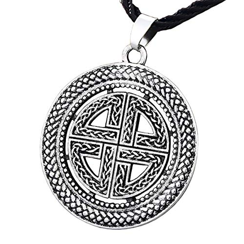 ENXICO Viking Shield Pendant Necklace with Celtic Knot Pattern ♦ Norse Scandinavian Viking Jewelry (Silver)