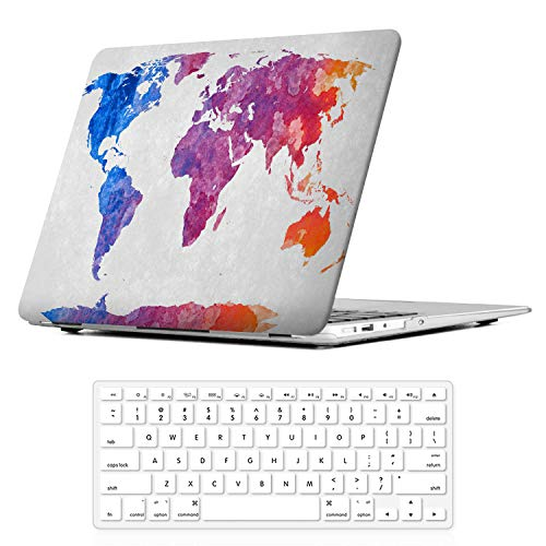 iCasso 2 in 1 MacBook Air 13 Inch Case Durable Rubber Coated Plastic Cover for MacBook Air 13 Inch Model A1369/A1466 with Keyboard Cover (World Map)