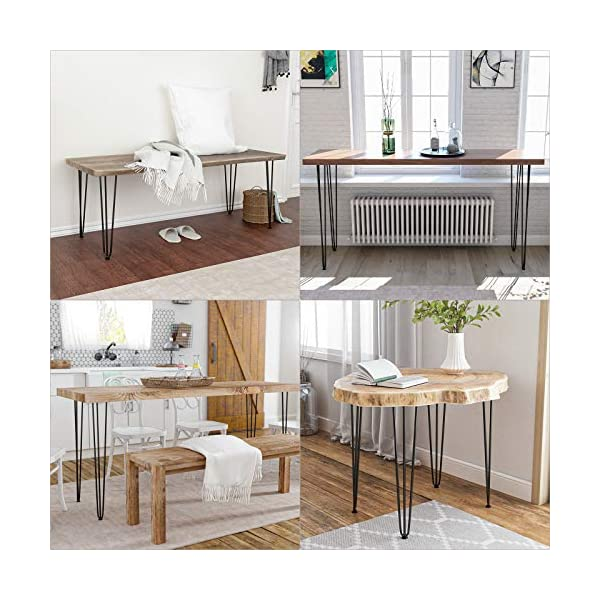 """SMARTSTANDARD 28 Inch Metal Hairpin Coffee Table Legs, 1/2"""" 3 Solid Rods, Industrial Home DIY Projects for Furniture, Bench, Dining Board, Desk, High-Stand with Rubber Floor Protectors, Black, 4PCS"""