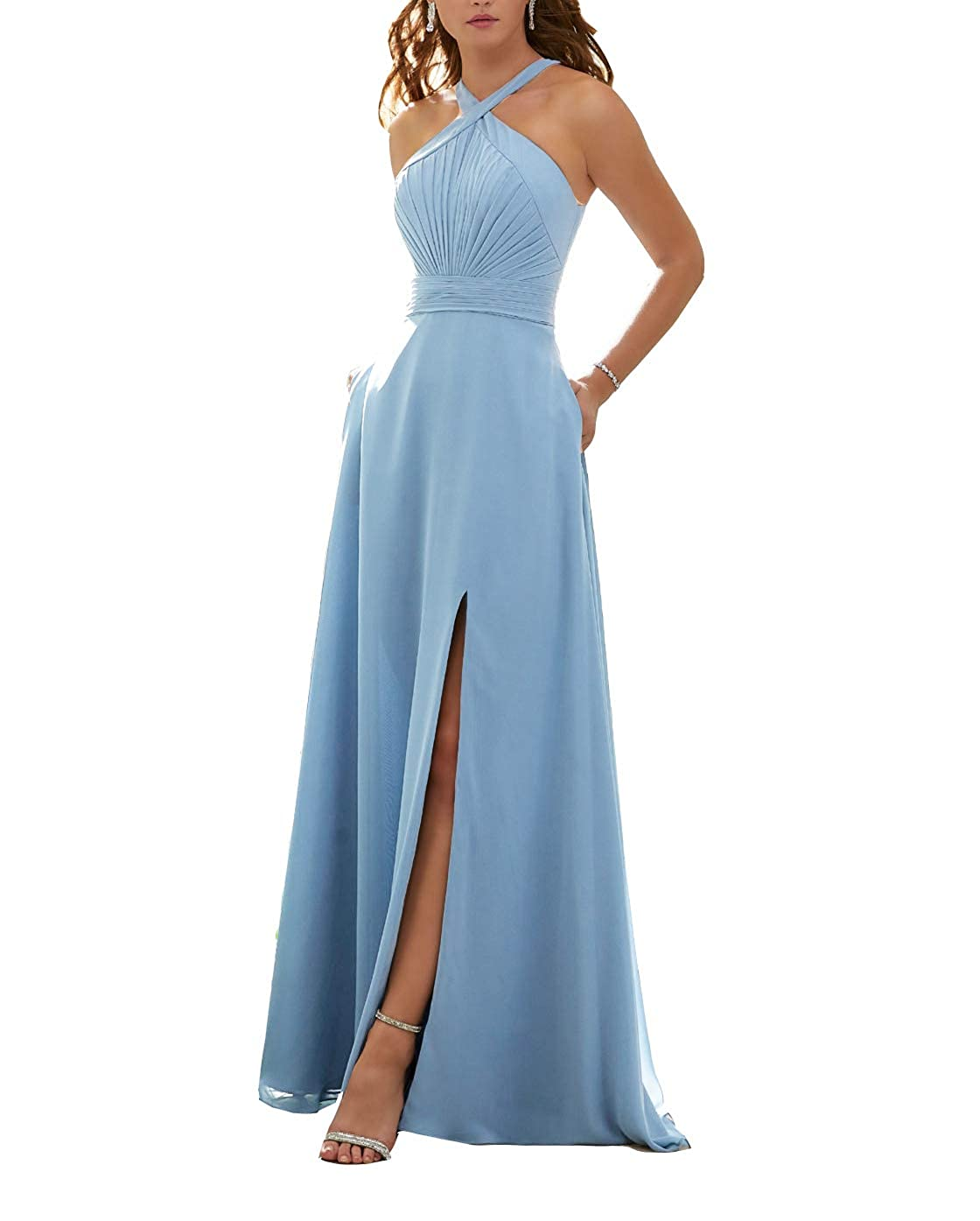 Baby bluee Stylefun Women's Halter Bridesmaid Dresses Slit 2019 Formal Prom Evening Party Gowns with Side Pockets KN010
