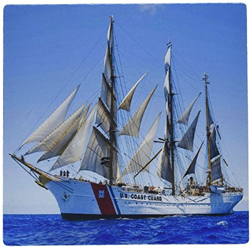 3dRose Print of Coast Guard Boat - Mouse Pad, 8 by 8 inches (mp_205037_1)