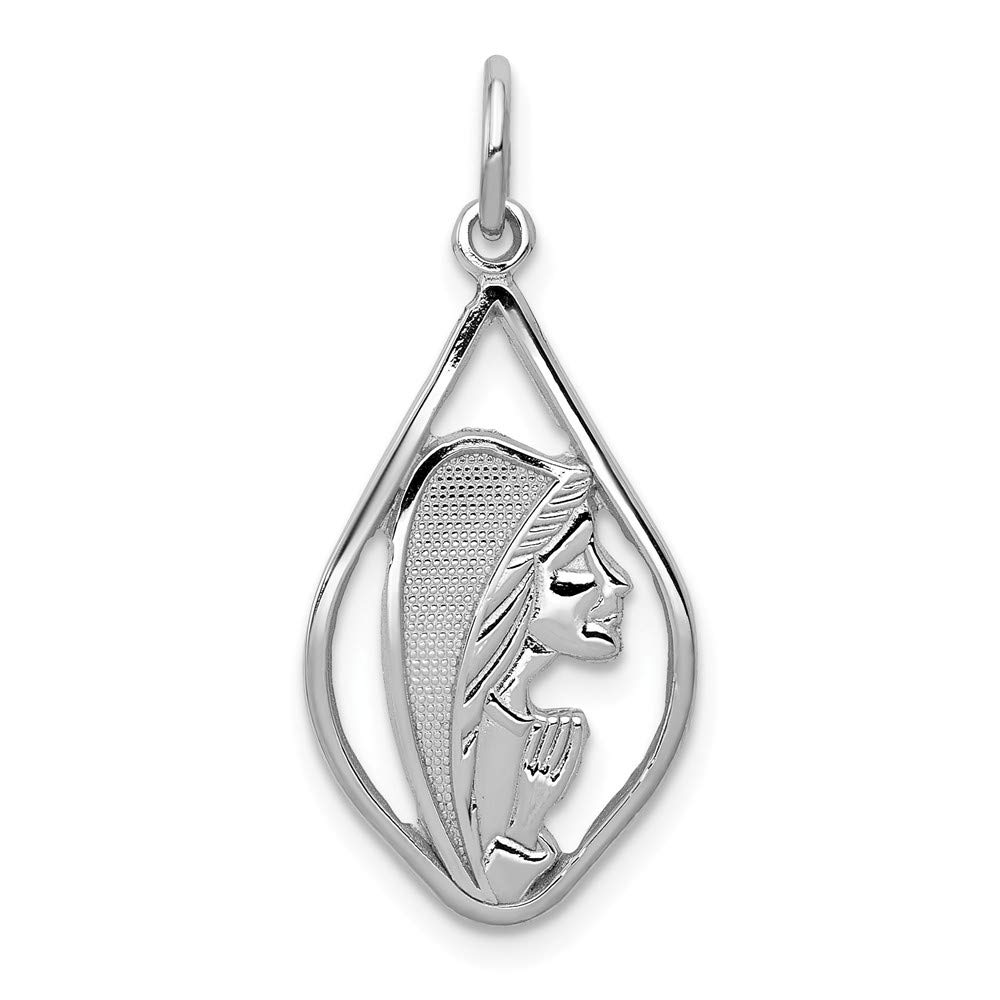 14k White Gold Mary Blessed Virgin Inside Tear Drop Shaped Charm 30x13mm