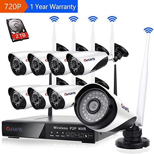 8 Channel Wireless Security Camera System NVR Video Surveillance System 720p Bullet Camera Night Vision Motion Detection 2TB Hard Drive for Indoor Outdoor by CANAVIS