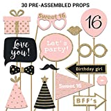 Sweet 16 Photo Booth Props | FULLY ASSEMBLED | 16th Birthday Photo Booth Props | REAL GLITTER | Pink Rose Gold Black | Sweet Sixteen Photo Booth Props Kit | NO DIY (30 Pieces)