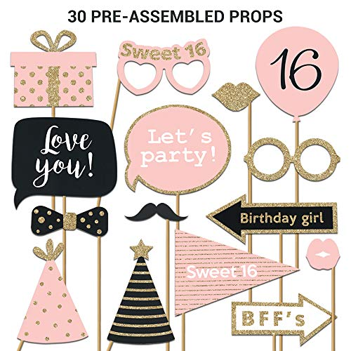 Sweet 16 Photo Booth Props | FULLY ASSEMBLED | 16th Birthday Photo Booth Props | REAL GLITTER | Pink Rose Gold Black | Sweet Sixteen Photo Booth Props Kit | NO DIY (30 Pieces)]()