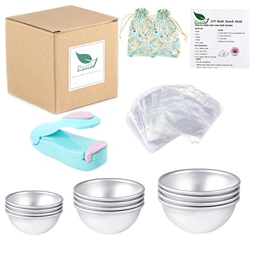 Duzcli 6 Sets DIY Metal Bath Bomb Mold 12 PCS 3 Sizes with 100 Packs 6 X 6 inch Shrink Wrap Bags,2 PCS Gift Bags and 1 PCS Mini Heat Sealer for Crafting (Instruction Included)