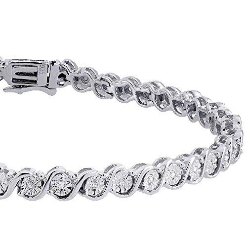 Bracelet Argent sterling 925plaqué platine serti de zircones 18cm